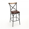 Zain Bar Stool - Leather Seat - Black Frame