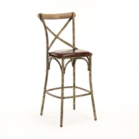 Manos Bar Stool - Leather Seat - Bronze Frame