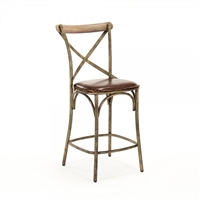Manos Counter Stool - Leather Seat - Bronze Frame