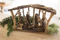 Christmas decor holiday nativity scene manger driftwood