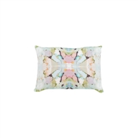 pillow watercolor colorful pink green white patterned