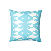 pillow watercolor colorful blue white patterned