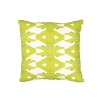 pillow watercolor colorful lime green white patterned