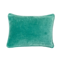 velvet teal square pillow cotton corded edge