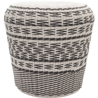 metal weave white gray garden stool charcoal
