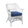 white rattan arm chair cushion