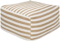 square cube pouf camel white jute cotton