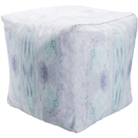 Indoor Outdoor pouf aqua purple tie dyed water colored