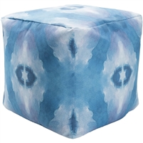 Indoor Outdoor pouf turquoise white
