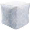 Luxury Designer Surya Indoor & Outdoor Pouf - Light Blue + White Pouf