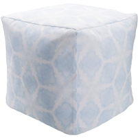 Indoor Outdoor pouf light blue white