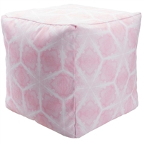 Luxury Designer Surya Indoor & Outdoor Pouf - Light Pink + White Pouf
