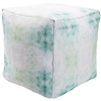 Luxury Designer Surya Indoor & Outdoor Pouf - White + Turquoise Pouf