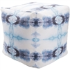 Luxury Designer Surya Indoor & Outdoor Pouf - Navy + Aqua + White Pouf