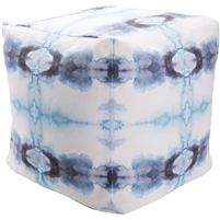 Indoor Outdoor pouf navy aqua white