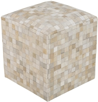 Leather Hide Pouf Ottoman Cream Mini Mosaic