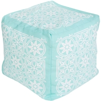 aqua white square flower burst floor pouf