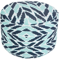 dark blue aqua round floor pouf