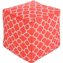 bright orange white square pouf circles