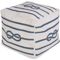 navy white knot square pouf coastal