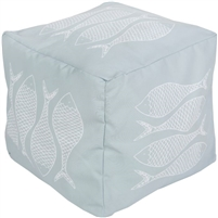 light blue square floor pouf fish