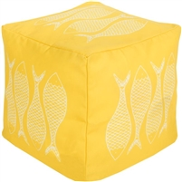 bright yellow square floor pouf fish