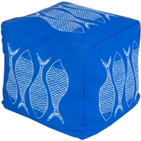 dark blue square floor pouf fish