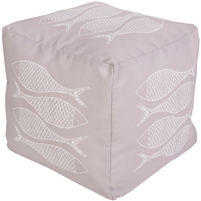 ivory square floor pouf fish
