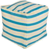 aqua ivory stripes square floor pouf
