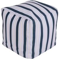 dark blue ivory stripes square floor pouf