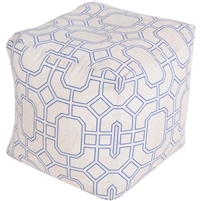 dark blue ivory square floor pouf geometric