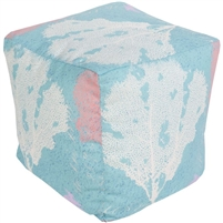 aqua white coral reef square floor pouf