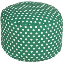green polka dot round floor pouf