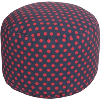 navy bright red dot round floor pouf