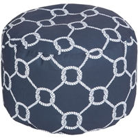 navy ivory knot nautical round floor pouf