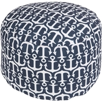 navy white anchor round floor pouf