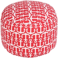 red white anchor round floor pouf