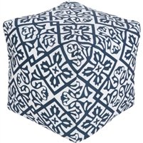 navy white square flower burst floor pouf