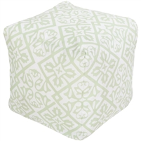 mint white square flower burst floor pouf