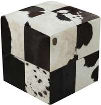 Cowhide Patched Leather Cube