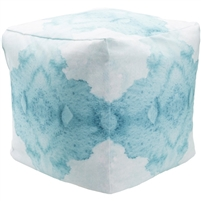 aqua white square watercolor floor pouf