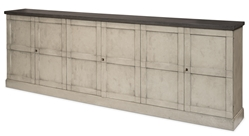 buffet server 6 doors shelves adjustable dark gray top washed gray base pine transitional