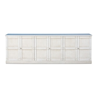 buffet sideboard white finish grey quartz top stone removable shelves 6-door