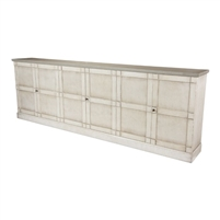 buffet sideboard cabinet 6-door long white distressed wood shelves gray quartz