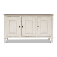white distressed 3-door buffet cabinet gray quartz top