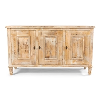 distressed oak wood buffet cabinet 3-door  key adjustable shelves