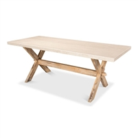dining table cross base natural oak finish