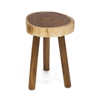 round wood stool tripod base grain Rain Tree side table