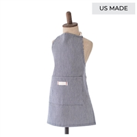 Unisex navy and white stripe full length child's apron with pocket.