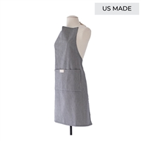 Unisex navy and white stripe full length bistro apron with pocket. Great for casual entertaining. Machine washable